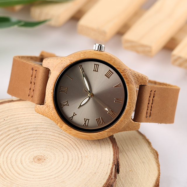 Reloj de madera bambú para mujer combinación metal 5