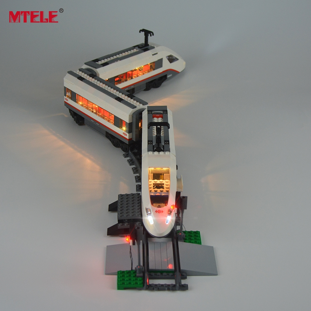 MTELE Brand New Arrival Led Light Kit for tog Høyhastighets Passenger Model Lighting Set Kompatibel med Lego 60051