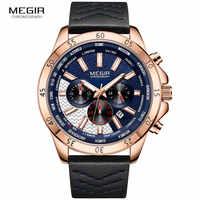 MEGIR Military Sports Quartz Watches for Men Waterproof Luminous Chronograph Wristwatch Man Relogios Masculino 2103 Rose blue