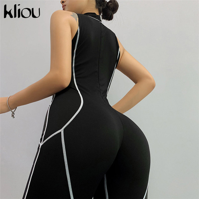 Kliou women sexy sleeveless playsuit skinny fitness turtleneck back zipper fly letter print patchwork fashion bodysuit rompers