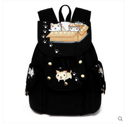 2017 new painted canvas bag shoulder bag Korean version of the travel backpack student bag school bag campus 2017 new painted canvas bag shoulder bag korean version of the travel backpack student bag school bag campus