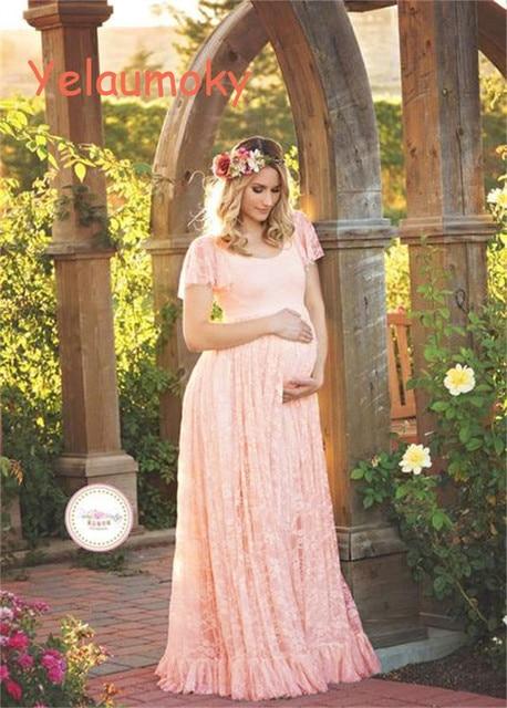 size 40 66da8 fc9e1 US $23.25 |Schwangerschaft spitze sommerkleid mutterschaft fotografie  requisiten lange spitzenkleid dame spitze hochzeit kleid strandkleid  [Yelaumoky] ...