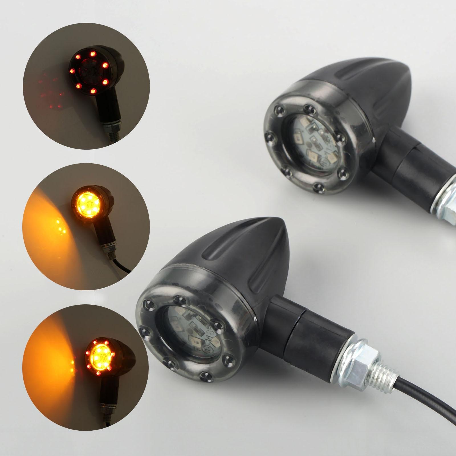 Mgoodoo 2Pcs/4Pcs Motorcycle LED Flasher Turn Signal Indicators light Brake Rear Running Lamp DC12V Amber LED Signal Turn Light