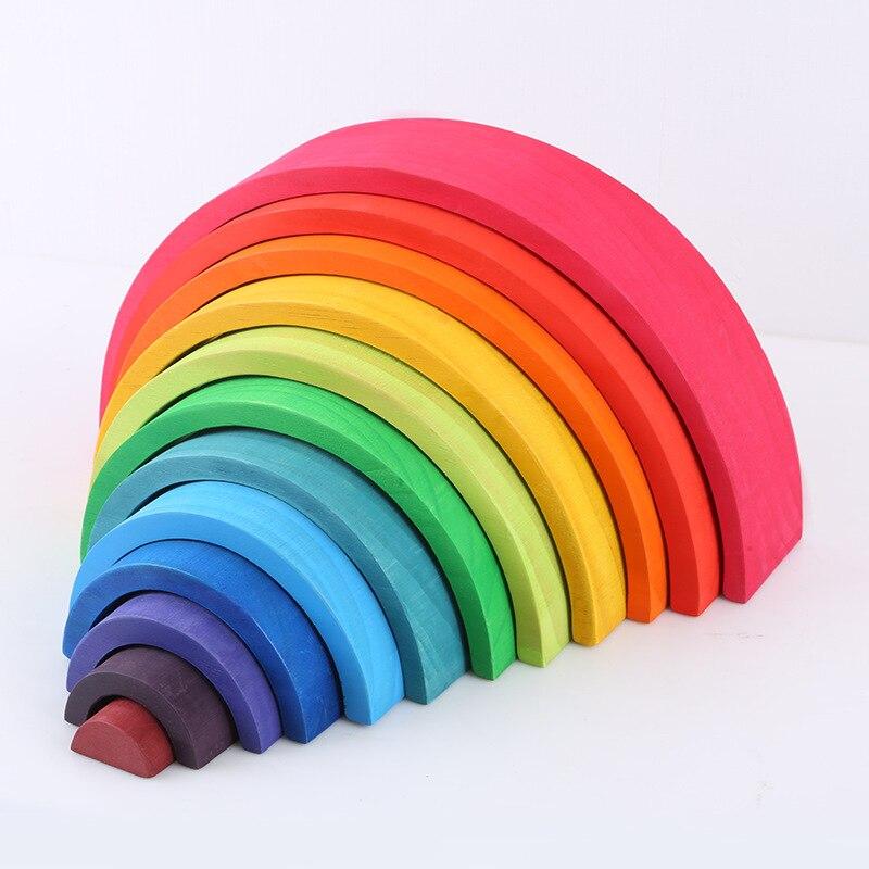 Baby Toys 12Pcs Rainbow Blocks Kids Large Creative Rainbow Building Blocks Wooden Toys For Kids Montessori Educational Toy