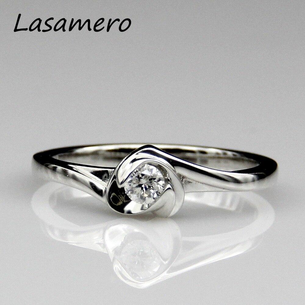 Lasamero Natural Diamond Ring Pt950 Platinum 01ct Diamond Solitare  Triangle Shape Design Real Diamond Engagement Wedding Ring