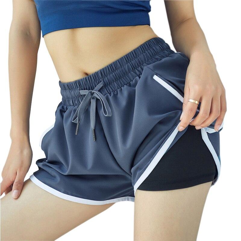 ★  Женские 2-х слойные шорты для бега йоги свободные быстросохнущие фитнес-шорты для бега на молнии в к ✔
