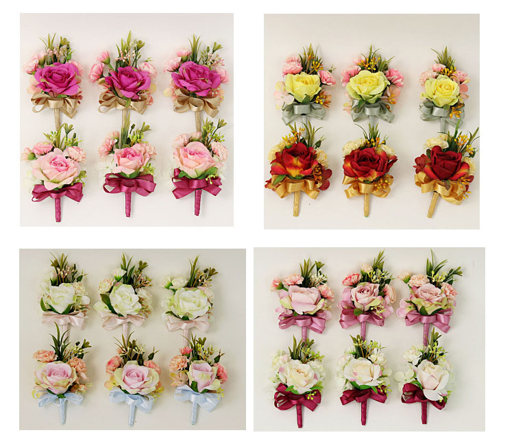 bridesmaid bracelet wedding corsage flowers roses artificial  (2)