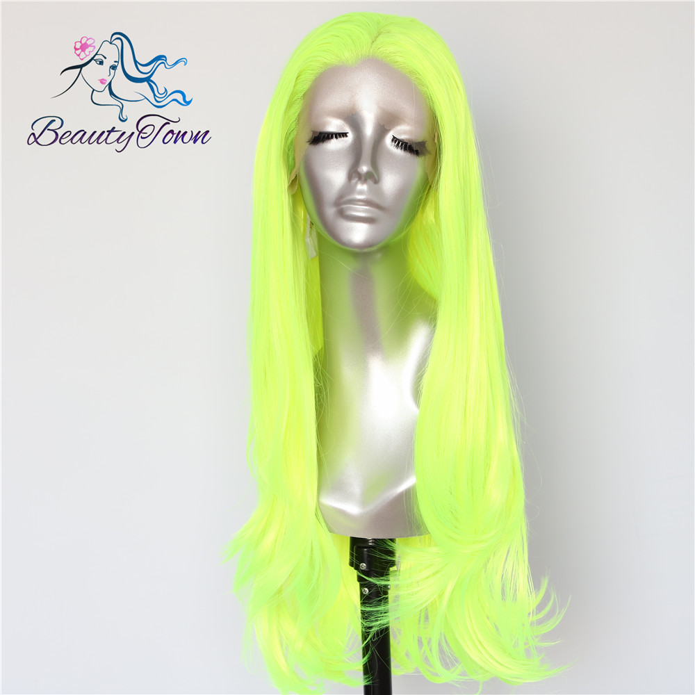 BeautyTown Neon Yellow Color Natural Wave Heat Resistant Hair Queen Makeup Women Present Wedding Party Synthetic