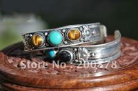 BB-116   Tibetan silver inlaid colorful beads bangle,Nepal vintage handmade metal open cuff bangls,mix order,Best offer