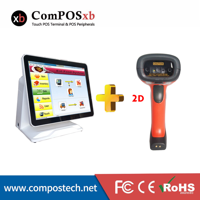 Best Price ComPOSxb best-selling 15 inch pos pure touch screen system all in one with bluetooth barcode scanner