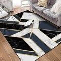 Металлические золотистые черные геометрические напольные ковры в современном стиле для гостиной  спальни  коврики для гостиной  декоратив...