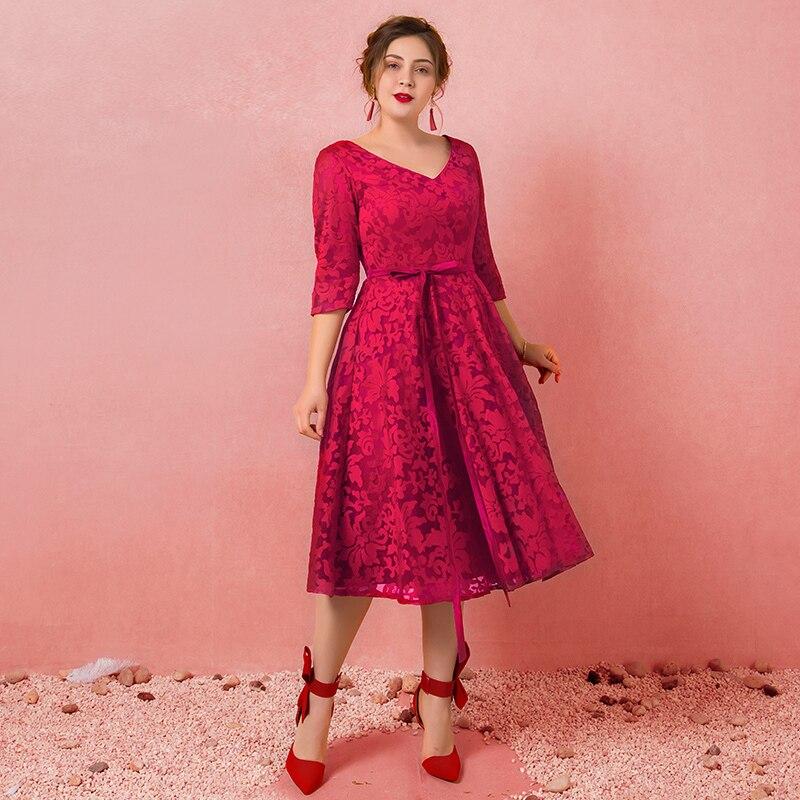 Plus Size Simple Burgundy V-neck Lace Vestido De Festa Tea Length A-line   Bridesmaid     Dresses   Half Sleeve Robe Soiree Party Gowns