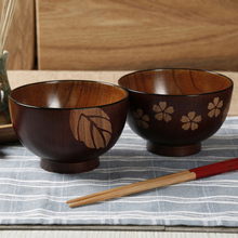 2Pcs Wooden Bowls Rice Soup Bowl Food Container Leaf Flower Pattern Jujube Wood Dining Bowl for Kids Wooden Utensils Tableware