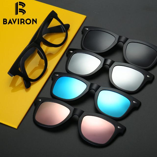 BAVIRON TR90 Óculos de Miopia Óculos De Sol Um Grampo Removível Lentes Polarizadas Para óculos de Leitura Computador Protecção Contra As Radiações B2206JP