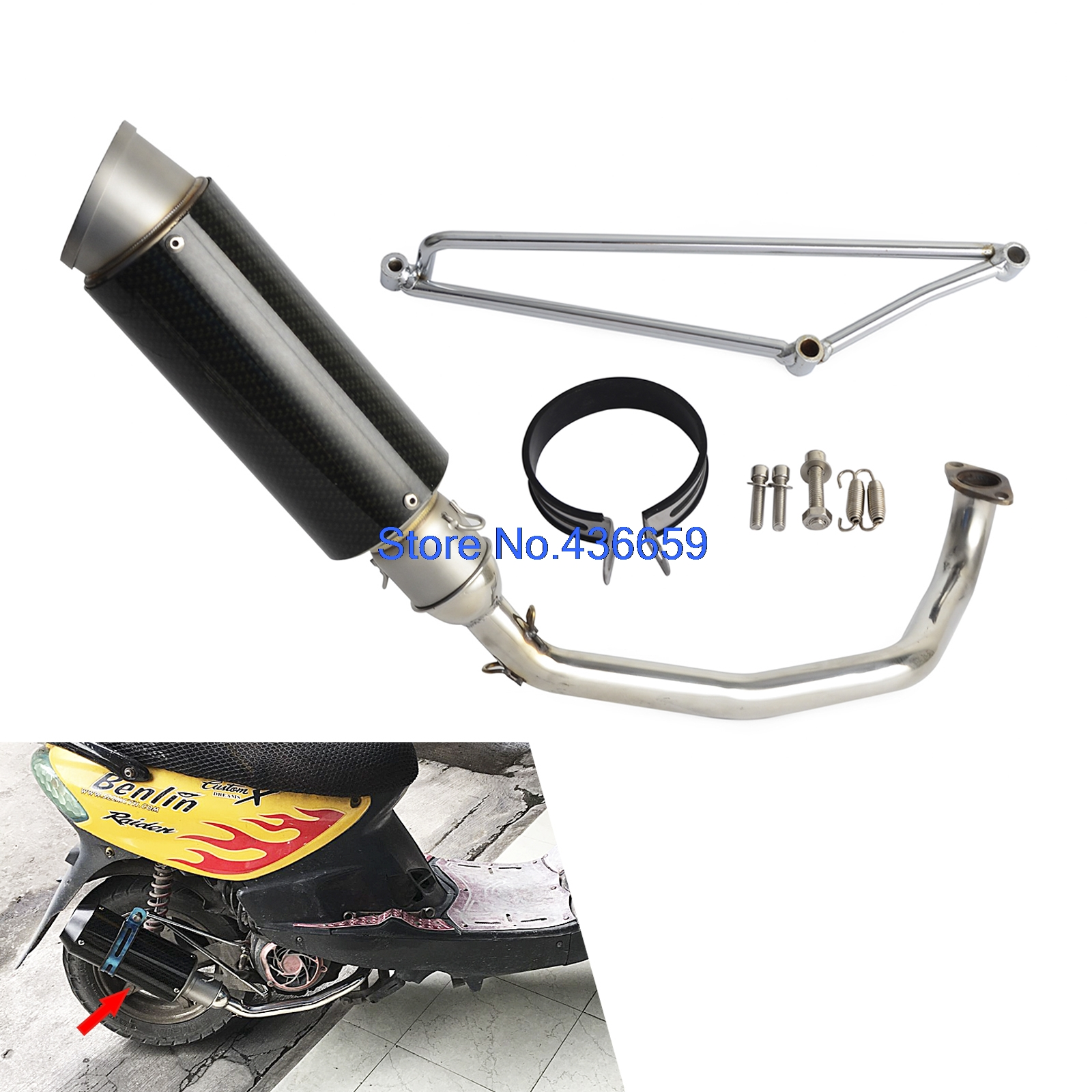 Motorcycle Stainless Steel Exhaust Muffler System For Scooters GY6 Engine 125cc 150cc