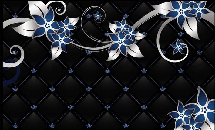 3d Wallpaper For Room Black Background Blue Flower Background Wall