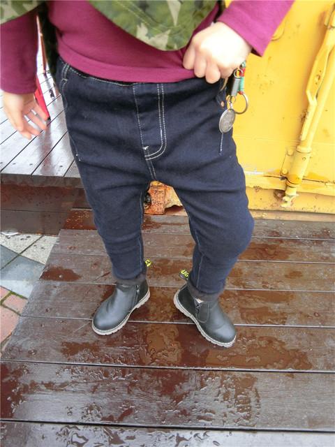 2016 desgaste do inverno das crianças das crianças Coreanas calças no novo cowboy com ornamentos menino da idade das crianças a partir de 2-7 T