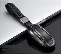 نموذج ل تسلا × سبائك الألومنيوم + حالة تغطية جلد السيارات سيارة مفتاح بعيد قذيفة حامية مع نسج مشبك الاكسسوارات