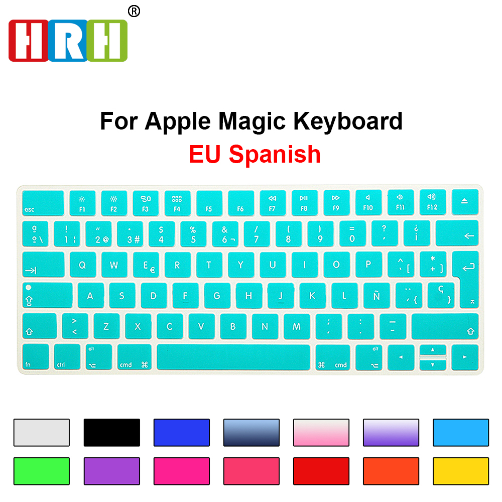 HRH Slim ESP Spanska Keyboard Cover Silikon Skin För Apple Magic Trådlöst Bluetooth Keyboard MLA22LL / A (A1644,2015 Released)