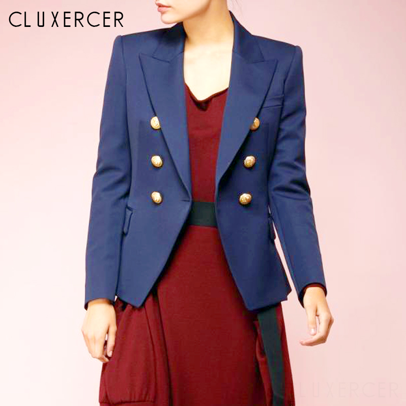 2019 Women Long Sleeve Solid Color Notched Collar Coat Lady Business Suit Double Breasted Jacket Suit