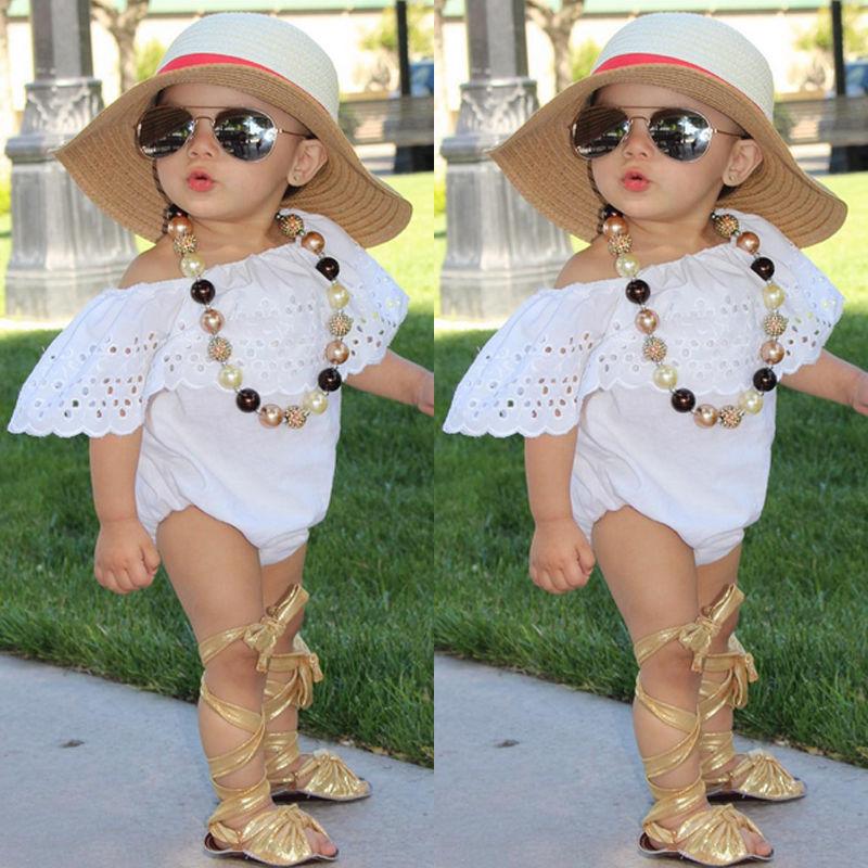Summer 2017 Baby Girls Off-Shoulder Romper Newborn Toddler Baby Girl Lovely Jumpsuit Children Kids Clothes Outfit Sunsuit 0-24M