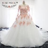 Роза Moda одежда с длинным рукавом белого цвета и цвета слоновой кости свадебное платье с Румяна розовый кружевное платье с цветочным рисунко