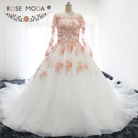 Rose Moda Long Sleeves White Ivory Wedding Dress with Blush Pink Lace Flower Royal Train Puffy Winter Ball Gown Removable Jacket