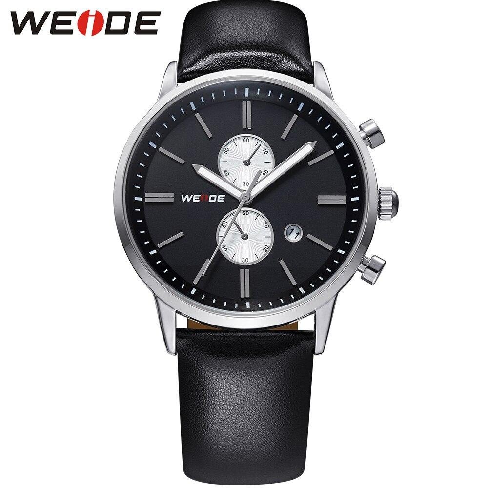 ФОТО WEIDE Genuine Casual Leather Watches Men Waterproof 30 Meters Top Brand Luxury Japan Quartz Movement Analog Date Watch For Man