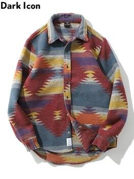 Dark Icon Turn-down Collar Geometric Woolen Shirt Men 2019 Spring Long Sleeved Shirts Men Thick Men's Shirts
