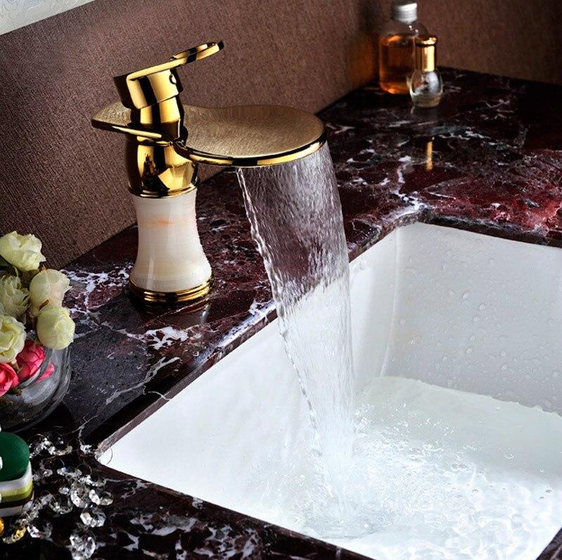Classic ceramic bathroom golden faucet waterfall bowlder tap waterfall mixer tap sink water tapSD-L-005A infos bathroom led waterfall water tap