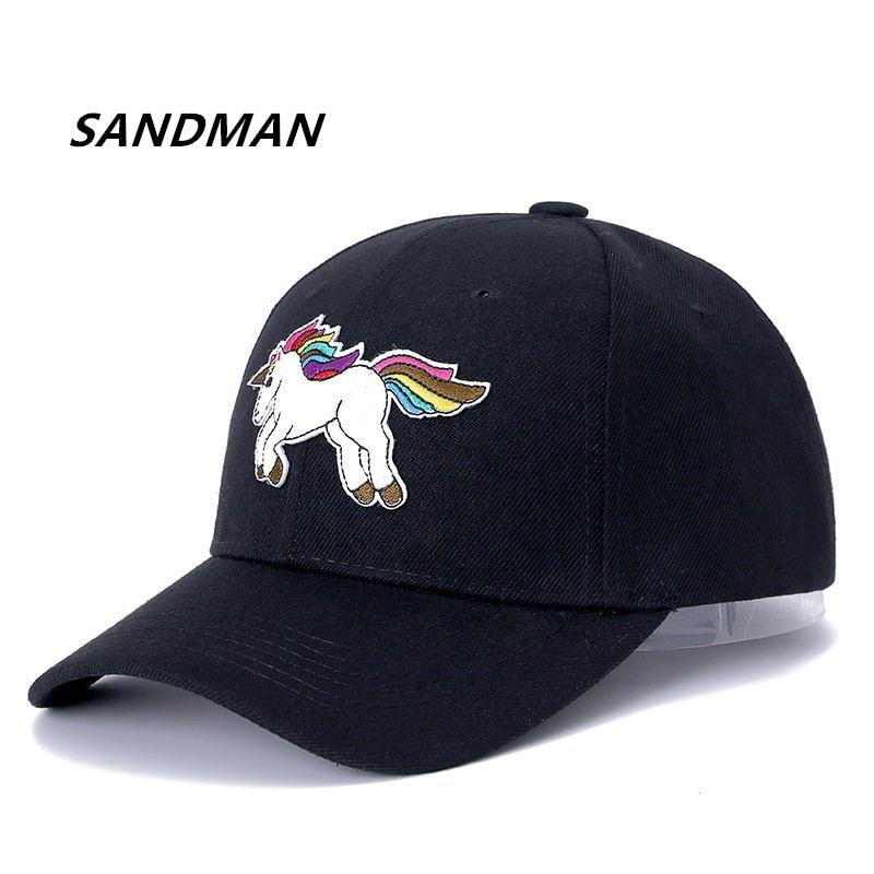 SANDMAN Unicorn Baseball Cap For Men Women Lovely Snapback Cap Adjustable Embroidered Fashion Casual Hip Hop Dad Sun Hat adjustable letters embroidered baseball cap