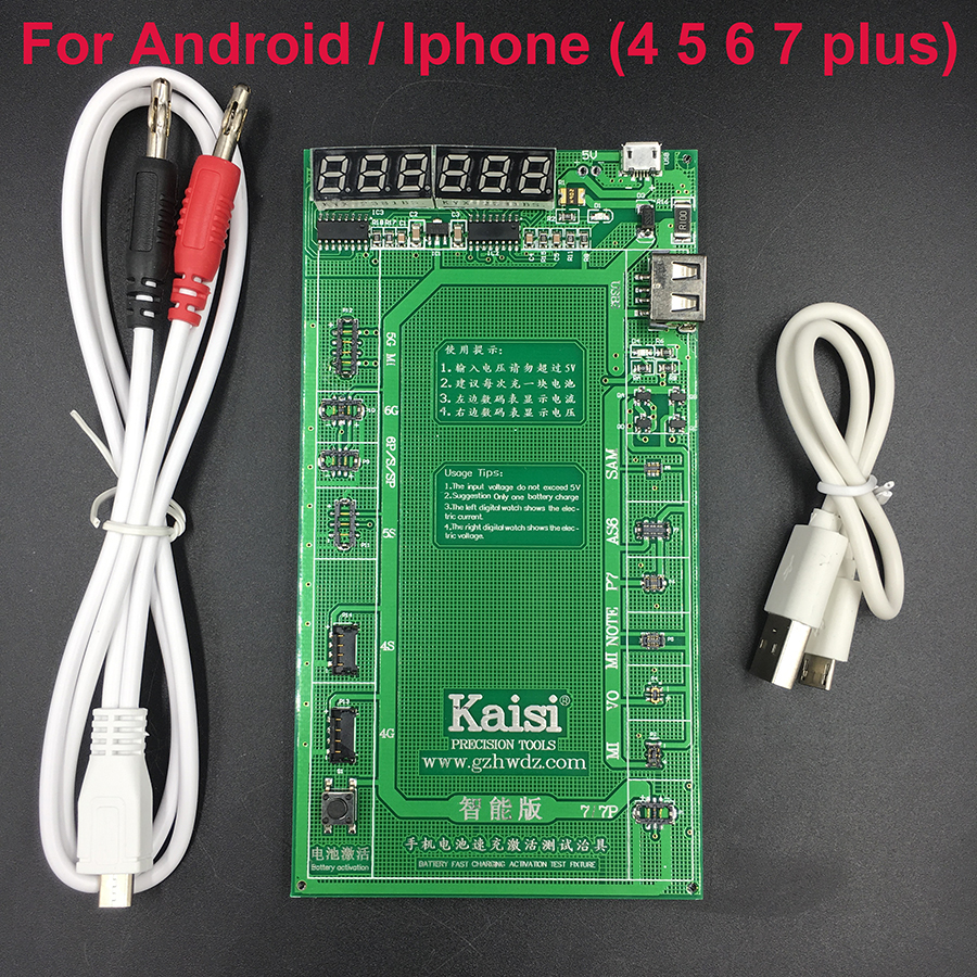 Kaisi Battery Activation Charge Board for Android phone iPhone 7 Plus 6S 6 Plus 5S 5 4S 4+micro USB Cable phone repair tool new laptop lenovo thinkpad x1 hybrid x1 lcd rear back cover the lcd rear cover fru 04w2055