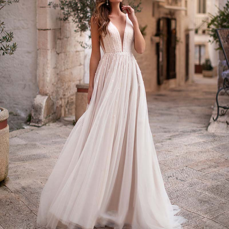 Sexy Illusion Plunging V-neck Boho-inspired A-line Wedding Dresses 2019 See Through Casual Beaded Tulle Chic Bridal Gowns AX130