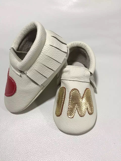 wholesale I love mom Genuine leather Toddler baby moccasins lot shoes hard rubber bottom top quality tassel gold heart 50pairs