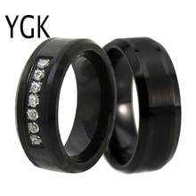лучшая цена 8MM Black Tungsten Ring For Men Women Wedding Bands Engagement Rings Trendy Couple Rings For Lovers Anniversary Party Rings