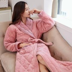 Nuovo inverno di Corallo Del Panno Morbido Quilted Lady Abito Kimono Accappatoio Camicia Da Notte di Spessore Caldo A Maniche Lunghe Degli Indumenti Da Notte camicia Da Notte M-XXXL