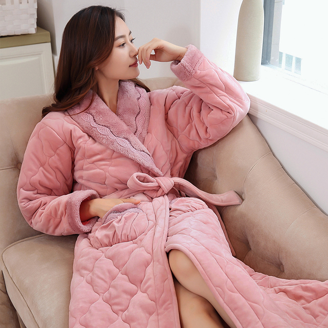 5ef445ee2e Winter New Coral Fleece Quilted Lady Robe Kimono Bathrobe Nightgown Thick  Warm Long Sleeve Sleepwear Bath