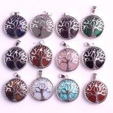 Wholesale 24pcs/lot Tree of Life Pendant Necklace Lapis lazuli Natural Stone Pendants Handmade Reiki Charm Jewelry Free Shipping