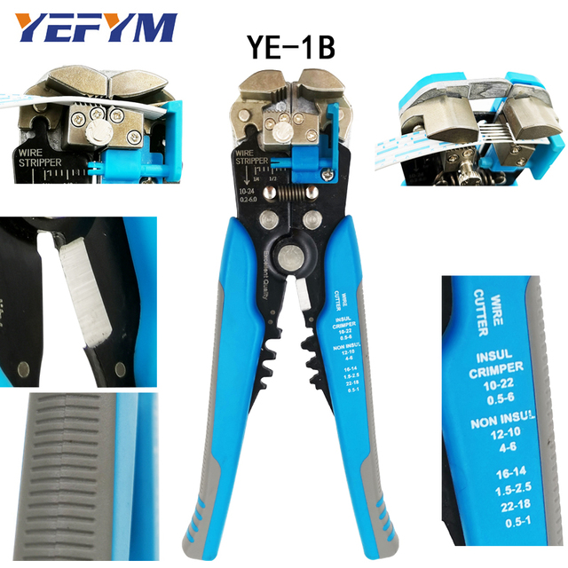 3 in 1 Multi tool Automatic Adjustable Crimping Tool Cable Wire Stripper Cutter Peeling Pliers D1 blue repair diagnostic-tool