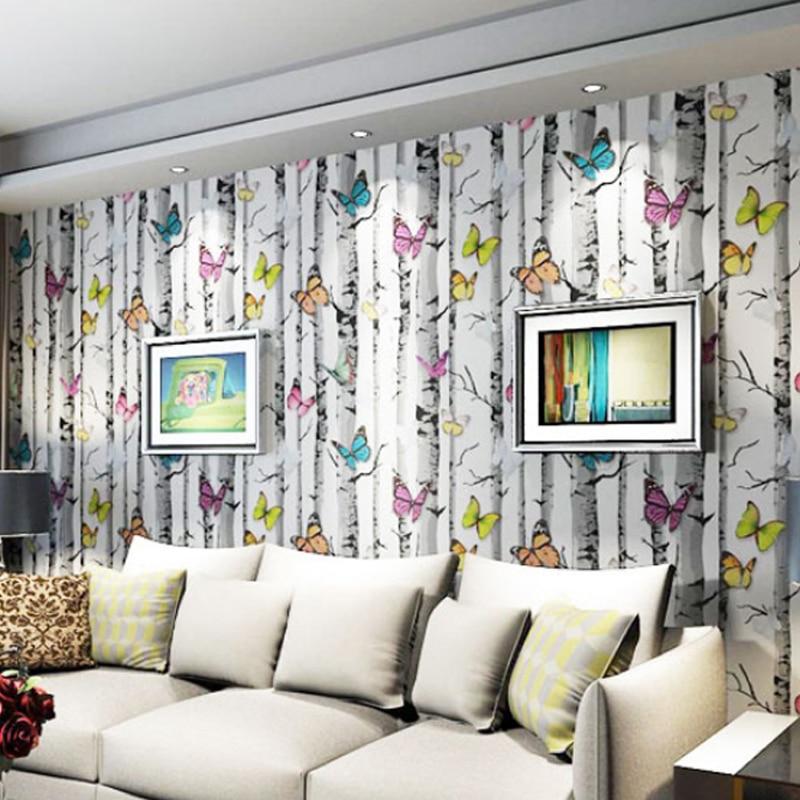 3D Stereoscopic Branch Butterfly Wallpaper The Living Room TV Background Wallpaper  Pattern Cartoon Childrenu0027s Room Wallpaper ... Part 48