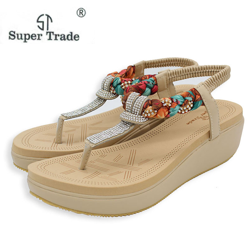 ST SUPER DRATE 2018 New National Summer Sandals Women'S Bohemia Diamond Shoes Women Summer Shoes With Large Size Women's Sandals poadisfoo 2017 new ethnic women s shoes bohemian diamond slope with a large summer sandals zapatos mujer jxf 6662b