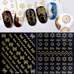 1 Pcs Gold 3d Metal Nail Stickers Bow Cross Flowers Designs Rivert Adhesive Nail Decals DIY Manicure Nail Supplies