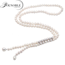 Women long pearl necklace mother,trendy cultured natural freshwater sweat tassel girls jewelry white 850mm gift