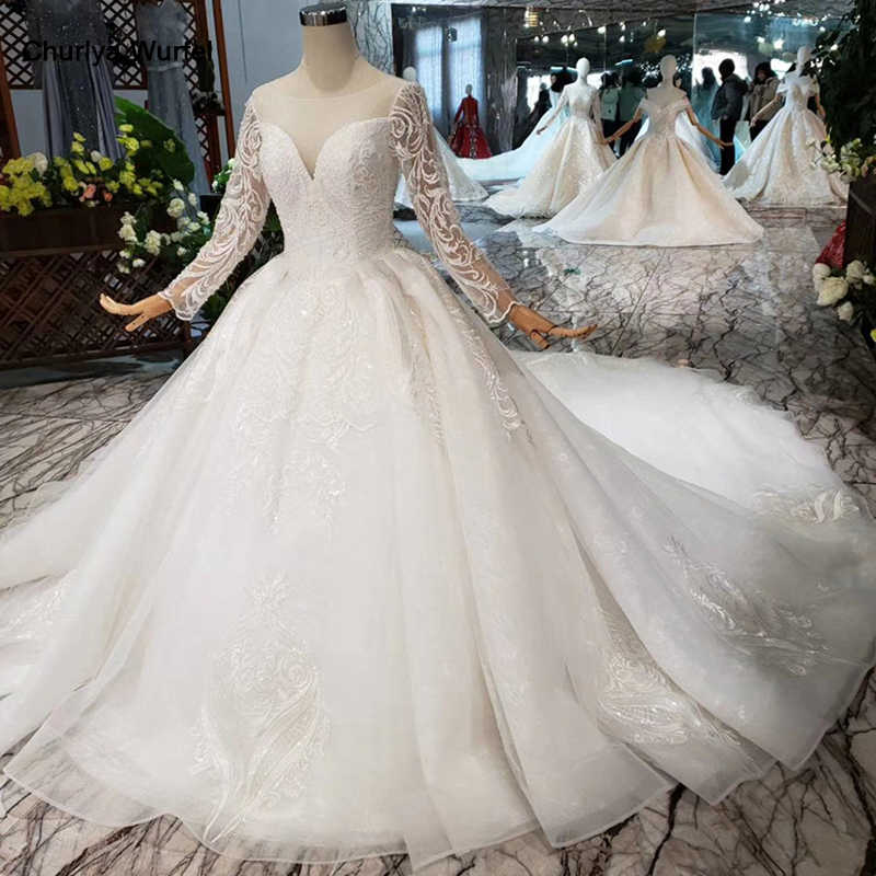 Htl174 European And American Style Wedding Dresses With Long Train Lace Up Back Luxury Wedding Gown 2020 New Fashion Design Aliexpress