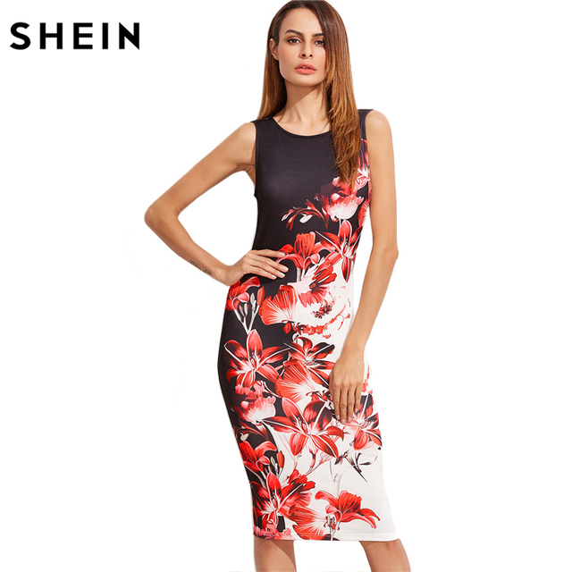 c836801ddb5 Шеин многоцветный Цветочный Принт без рукавов карандаш платье женские летние  цветочные по колено элегантное платье-