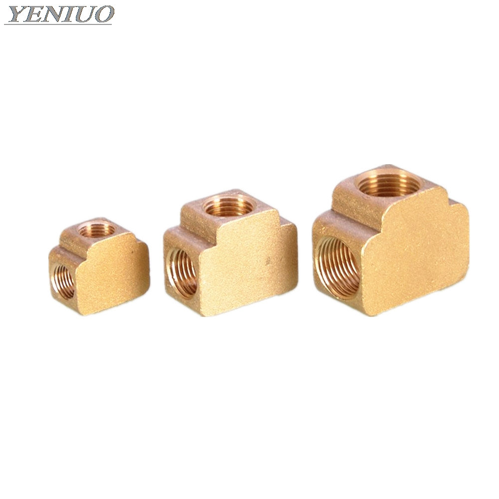 Tee 3 Ways Brass Pipe Fittings Equal Female Connector 1/8