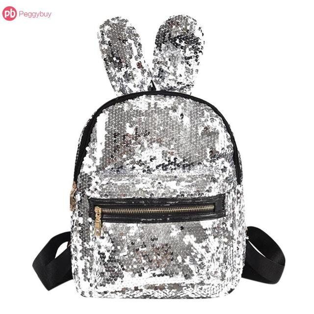 Cute Rabbit Ears Bling Silver Shining Sparkly Sequins Backpack Mini Double Shoulder  Bag Teenager Girls Travel 13c2c17dfc0c9
