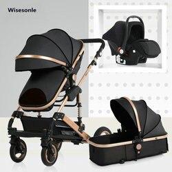 2019 novo carrinho de bebê alta paisagem 3 a 1 carrinho de bebê dupla face crianças frete grátis em quatro estações na rússia