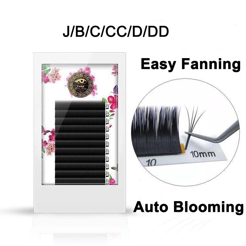 ZHIYOU Fast Blooming Easy Fanning Volume Mega Auto Easy Grafting False Eyelashes Extension Thick Novice Make Soft 0.05/0.07 wallet
