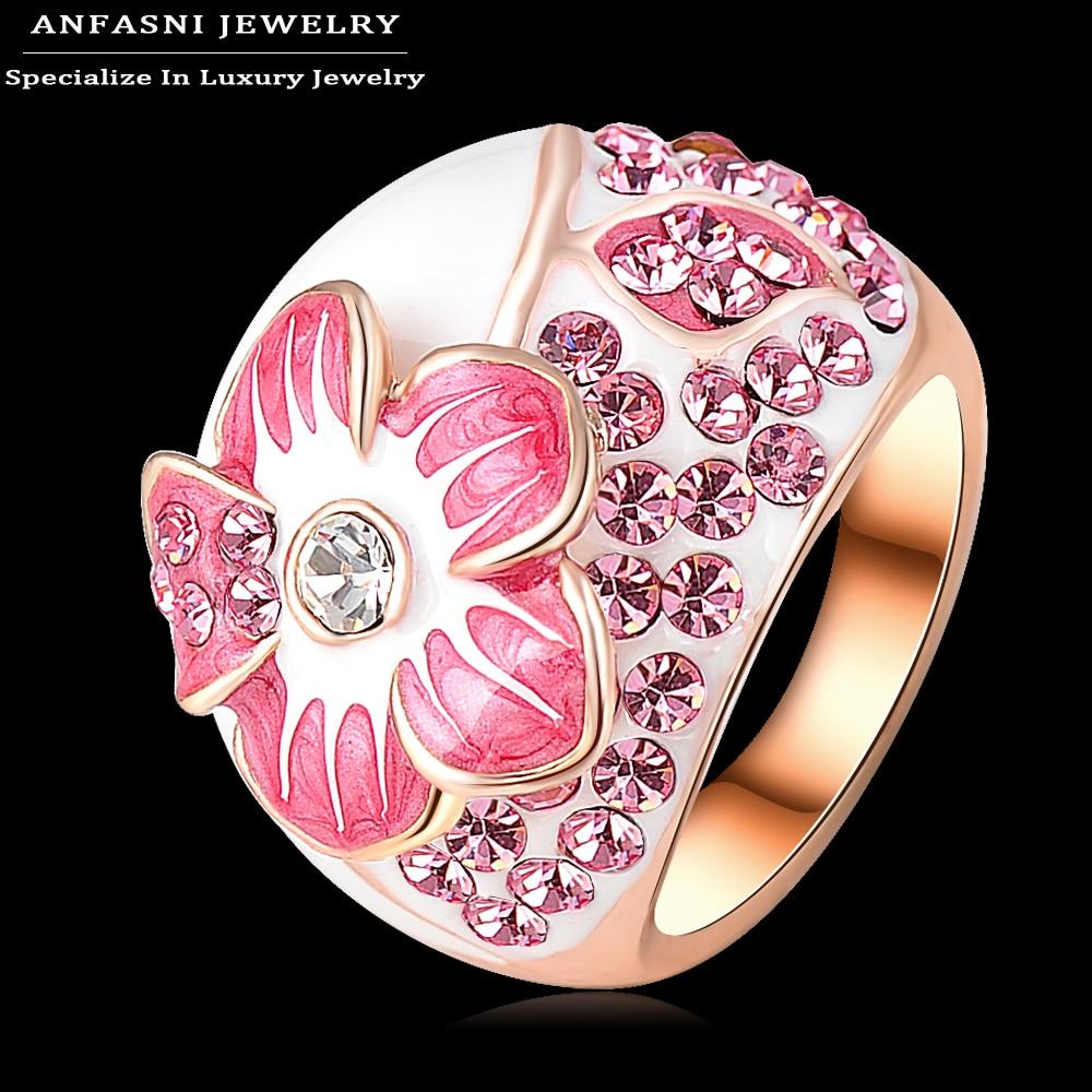 ANFASNI Lake Blue Enamel Genuine Austrian Crystal Rings Flower Ring ...